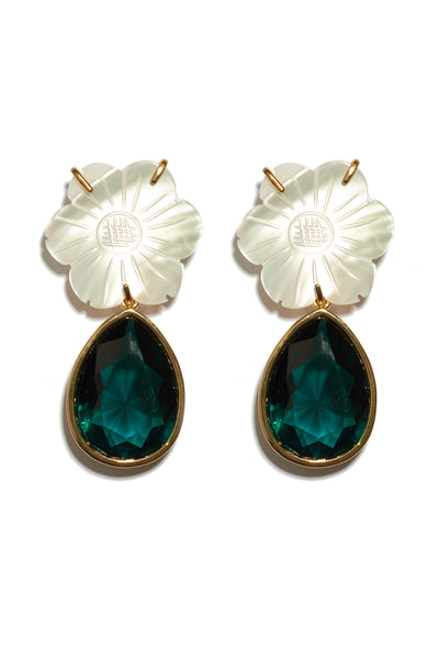 Thumbnail close-up of Lily Pad Earrings. The perfect accessory to punctuate any outfit, these gold-plated brass earrings feature mother-of-pearl daisy tops and hanging emerald-colored faceted glass teardrops. Fully elegant, completely wearable.
