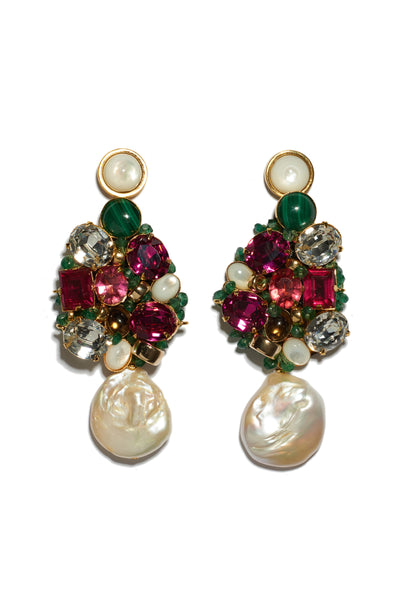 Thumbnail of Ephemera Earrings. These festive mixed media statement earrings will turn heads whether paired with a party dress or denim. Gold-plated brass hand-sewn with mother-of-pearl, malachite, smoky quartz, vintage glass stones and green aventurine beads with large freshwater pearl drops and mother-of-pearl tops.