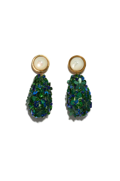 Thumbnail of Roman Party Earrings In Emerald. Make every day a party! These earrings are excellent for all occasions. In gold-plated brass with swinging blue and green sequin beaded teardrops and mother-of-pearl stone tops.