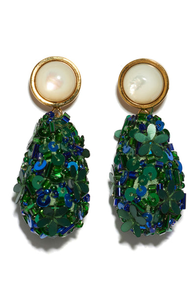 Thumbnail detail of Roman Party Earrings In Emerald. Make every day a party! These earrings are excellent for all occasions. In gold-plated brass with swinging blue and green sequin beaded teardrops and mother-of-pearl stone tops.