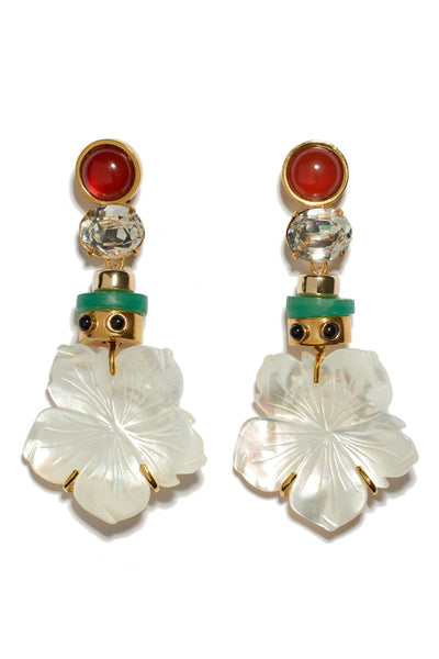 Thumbnail of Margherita earrings. Found: the perfect vacation earrings. Whether island-hopping or dressing up your 'stay-cation', we think you'll agree. Gold-plated brass earrings with faceted crystal, amazonite beads and carved mother-of-pearl flower drops and semiprecious carnelian tops.