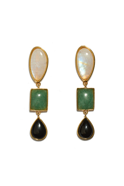 Thumbnail of Color Field Earrings. Gold-plated brass linked earrings with semiprecious moonstone, green quartz and black agate cabochons. These are classic drop earrings with a geometric flair.
