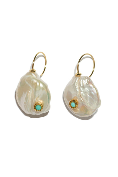 Thumbnail of Piccolo Pearl Earrings. Classic, timeless, and trend-proof. Get a pair for yourself, your best friend, and your grandmother. Gold-plated sterling silver wire earrings with baroque pearl drops and turquoise cabochon details.