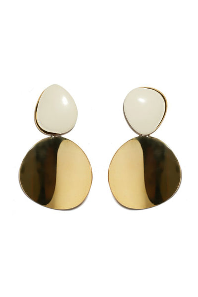 Thumbnail of Painted Disco Earrings. We predict these will be your most versatile statement earrings - they truly go with everything. Gold-plated double discs with white painted enamel tops.