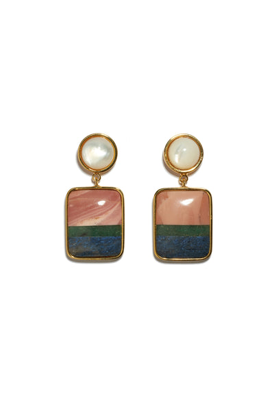Thumbnail of Fresco Earrings In Colour Block. A little simplicity goes a long way in these gold-plated brass earrings featuring pink opal, green quartz and dumortierite semiprecious square drops and mother-of-pearl tops.