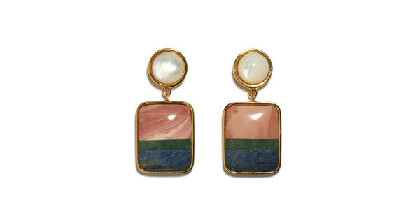 Full view of Fresco Earrings In Colour Block. A little simplicity goes a long way in these gold-plated brass earrings featuring pink opal, green quartz and dumortierite semiprecious square drops and mother-of-pearl tops.