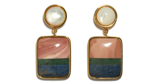 Close-up of Fresco Earrings In Colour Block. A little simplicity goes a long way in these gold-plated brass earrings featuring pink opal, green quartz and dumortierite semiprecious square drops and mother-of-pearl tops.