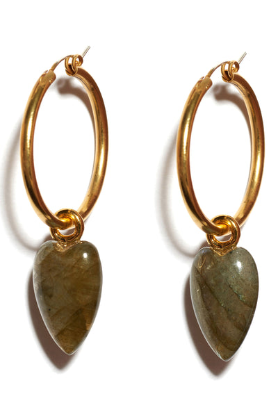 Thumbnail close-up of Hoop And Dagger Earrings. Shop the wardrobe staple of the new effortlessly cool girl. Gold-plated brass sterling silver hoops with elongated heart-shaped labradorite drops.