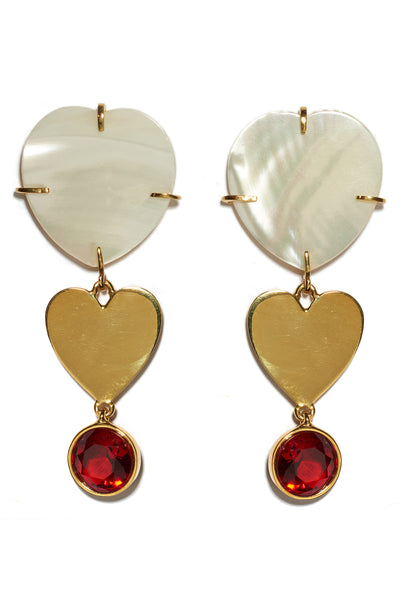 Thumbnail detail of Ace Of Hearts Earrings. Mother-of-pearl hearts with gold-plated heart and red faceted glass hanging charms. Dainty and whimsical earrings suitable for everyday wear.