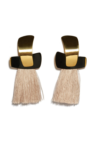 Thumbnail of Totem Tassel Earrings In Blush. These statement earrings in gold-plated brass are both bold and sleek. Just as perfect for an art opening as for a day at the office. With black enamel and blush silk tassel fringe.