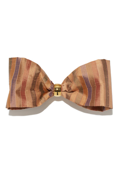 Thumbnail of Bow In Caravan Stripe. The sweetest way to raise the style profile of your everyday ponytail is with our gold-plated barrette with striped silk shantung bow.
