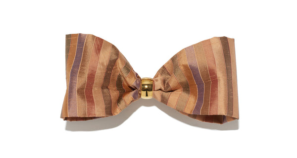Full view of Bow In Caravan Stripe. The sweetest way to raise the style profile of your everyday ponytail is with our gold-plated barrette with striped silk shantung bow.