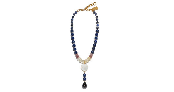 Full view of Louis Necklace. Whether paired with a strapless dress or denim shirt, this heart necklace is simply too pretty to take off. Lapis, strawberry quartz and citrine beads with mother-of-pearl heart and black agate drop pendant.