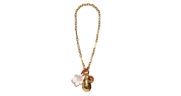 Full view of Windsor Charm Necklace. Light up the room in this flattering, rosy-hued chain link necklace. Gold-plated brass with pearl and semiprecious stone pendant, carved pink mother-of-pearl flower, faceted glass stone charm and enamel toggle closure.