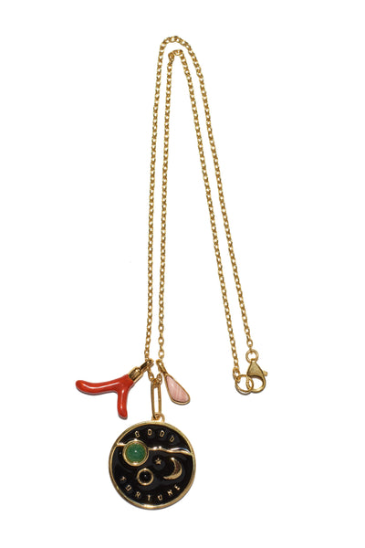 Thumbnail of Fortune Necklace In Black. A new wear-everyday layering piece with an heirloom feel. Gold-plated vermeil chain necklace with gold-plated brass poker chip pendant with black enamel, green aventurine and black onyx cabochons and hanging semiprecious and enamel charms.