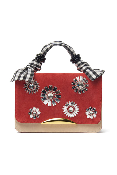 "Thumbnail of Beatrice Purse In Al Fresco. Your unique statement bag is here in cherry calf suede and nude saffiano leather. This purse has a hand-sewn crystal bloom embroidered flap, gold-plated ""arc"" hardware and black and white gingham silk fabric top handle."