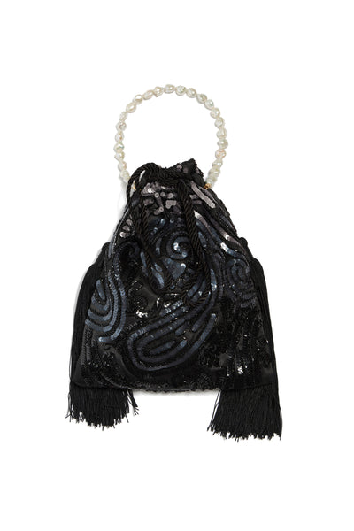 Thumbnail of Gala Wristlet In Deco Sequins. Be ready to take on any event and effortlessly turn heads with our dramatic black sequined drawstring purse, featuring oversized black tassel fringe and a freshwater pearl wristlet.