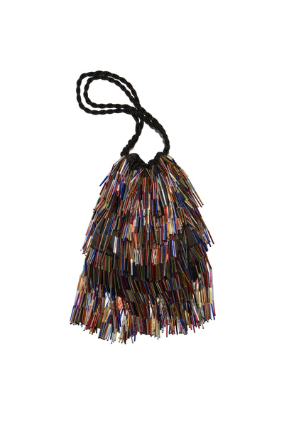 Thumbnail of Gala Wristlet In Disco Fringe. Be ready to take on any event and effortlessly turn heads with our unique drawstring purse, featuring multicolor hand-sewn bugle beads and black twist cord wristlet.