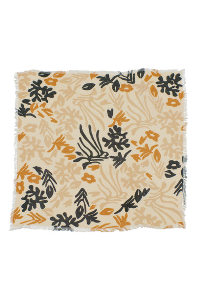 Thumbnail of Neck Scarf in Bohemian Garden. Our square wool neck scarf  will keep you cozy and  comes with unique gold-plated kidney closure for maximum styling opportunities. Navy, mustard and beige abstract floral print and fringed edges.
