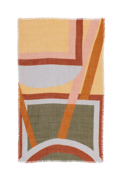 Thumbnail of Large Graphic Stella Scarf. Our oversized rectangular 100% wool scarf will keep you cozy and can be styled in so many ways. With statement-making peach, periwinkle, rust and olive multicolor graphic print and fringed edges.