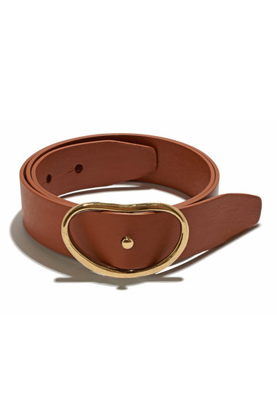 Thumbnail of Wide Georgia Belt In Tan. Trust us - you will want to wear this adjustable light brown leather belt forever. In a wider width with gold-plated brass buckle.