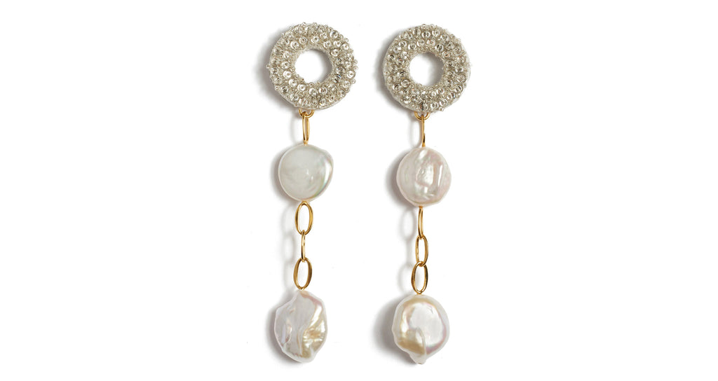 Full view of Chateau Pearl Earrings. Stop them cold in their tracks in our supremely elegant...