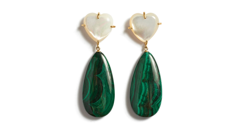 Full view of Roumana Earrings. Cue the drama in gold-plated statement earrings with sweet mother-of-pearl heart tops and rich green malachite teardrops. We'll be wearing this versatile pair with black velvet, silk camis and chunky knits.