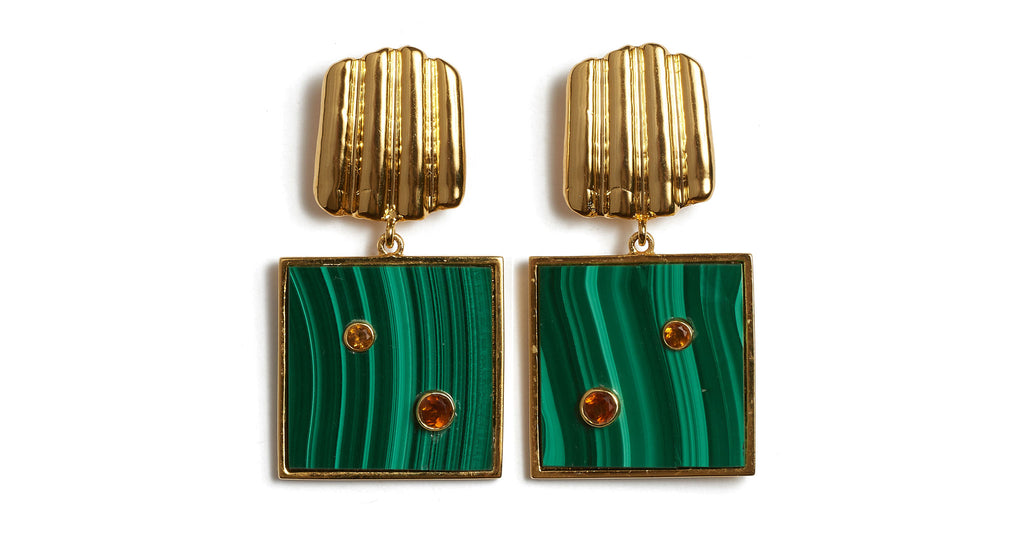 Full view of Green Wave Earrings. The ripple effect is real! Make wardrobe waves in our gold-plated ruffle shell earrings that are equal parts beachy and sculptural. With square malachite stones set with semiprecious faceted citrine.