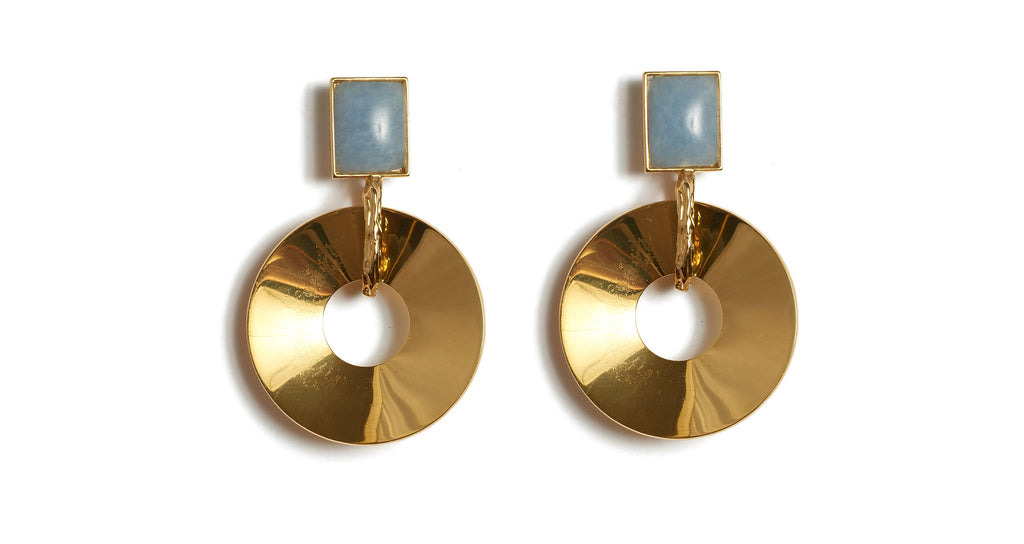 Full view of Promenade Hour Earrings. Going somewhere? Telegraph some true satellite chic in our gold-plated disc earrings with blue angelite stone tops and textured gold link detail.