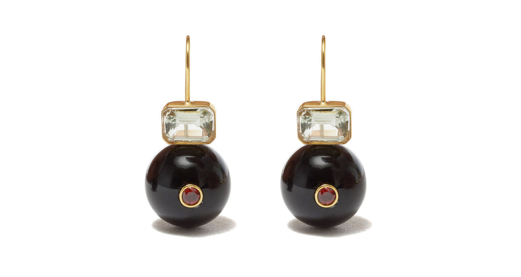 Full view of Tangier Drop Earrings. Consider these earrings your gateway to gorgeous. Gold-plated rectangles set with semiprecious faceted green amethyst perch atop black agate drops inlaid with pink rhodolite, for a supremely chic look you'll want to gift to all the ladies in your life.