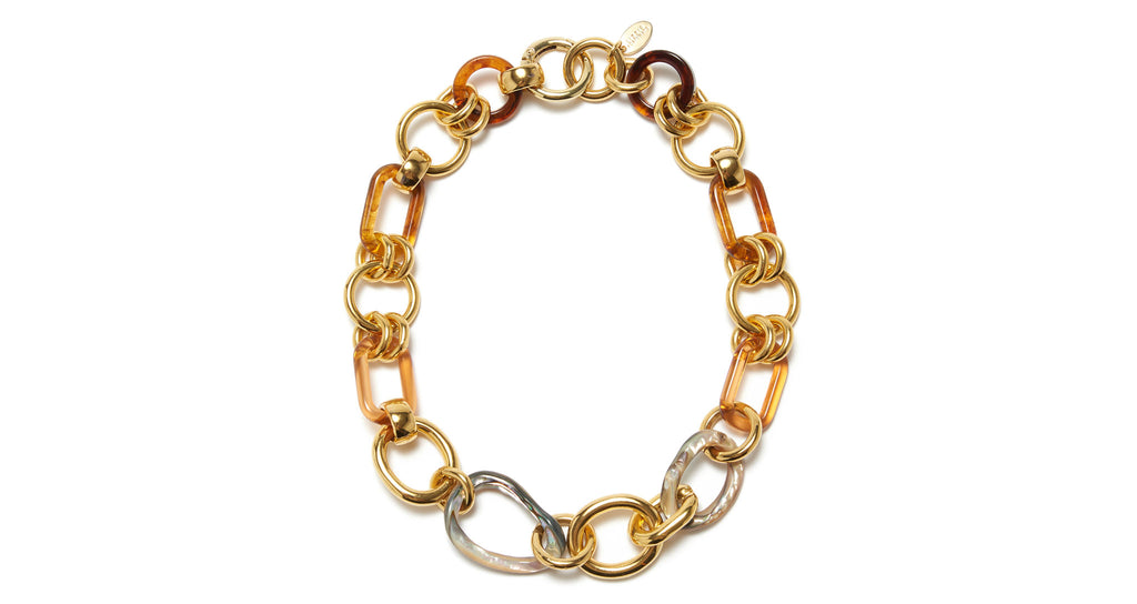 Full view of Abalone Link Necklace. Attention: your prep classic chain-link necklace has joi...