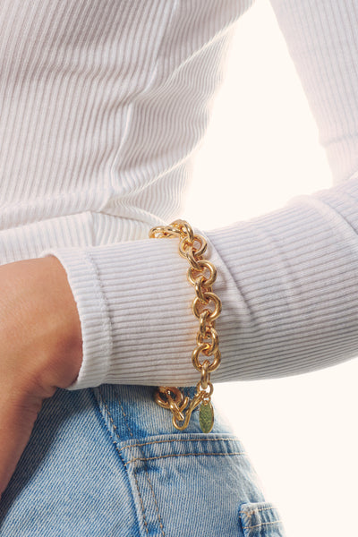 Thumbnail of model wearing the Halo Bracelet. For heaven's sake, Lizzie has designed another...