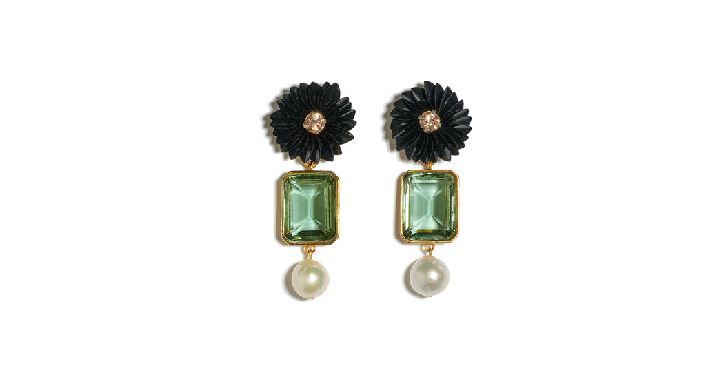 Full view of Sea Flower Earrings. Add a bloom of brilliance to your upcoming holiday look in...