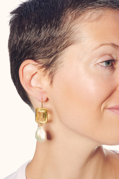 Thumbnail of model wearing Aegean Earrings in Lemon. Our favorite tile earrings are back, no...