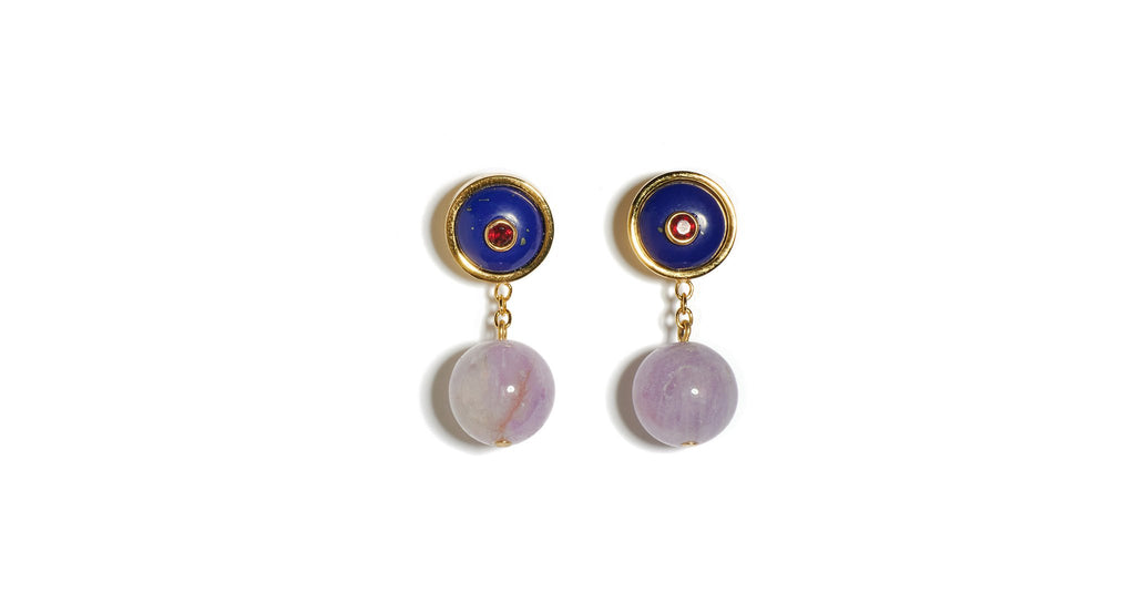 Yolo Earrings in Lapis. Brand new for R21, we predict the gold-plated YOLO earrings will bec...