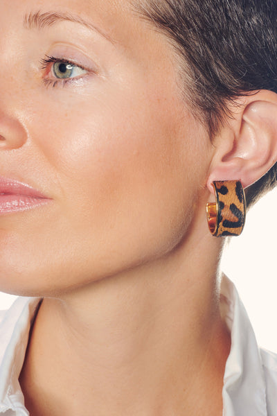 Thumbnail of model wearing the Bengal Hoops in Leopard. Take a walk on the wild side in our ...