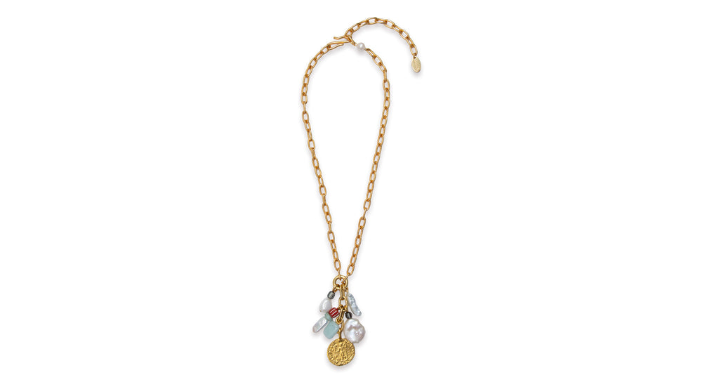 "Full view of Java Necklace. Give your white t-shirt a jolt with our gold-plated brass ""..."