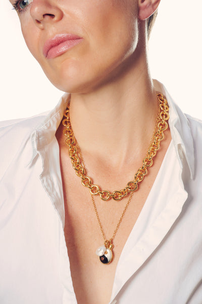 Thumbnail of model in the Halo Chain Necklace. For heaven's sake, Lizzie has designed anothe...