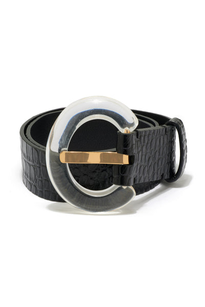 Thumbnail close-up of Sofia Belt in Black Croc. Buckle up; it's going to be a chic ride! The...