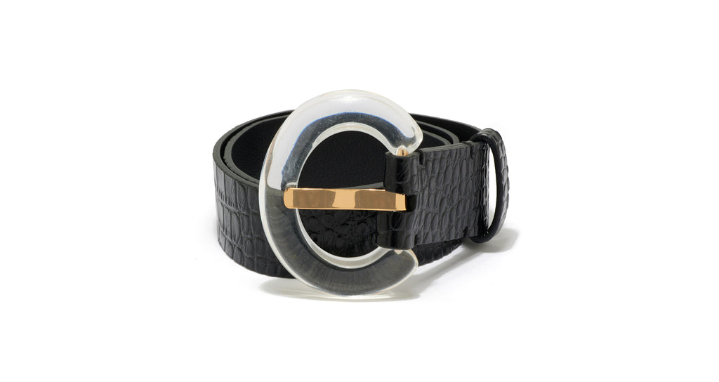 Full view of Sofia Belt in Black Croc. Buckle up; it's going to be a chic ride! The cust...