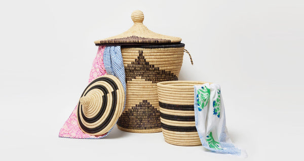 Medium Palm Striped Basket