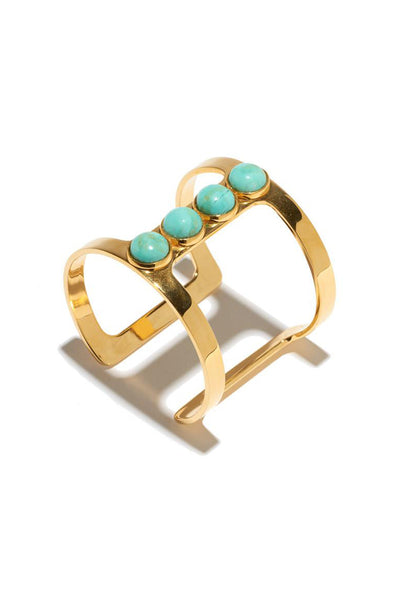 Pebble T-Bar Cuff In Turquoise