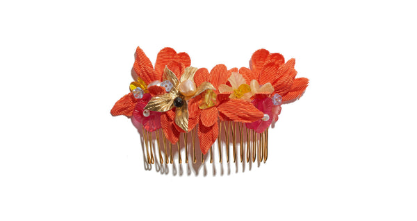 Hair Comb In Tropical Flower