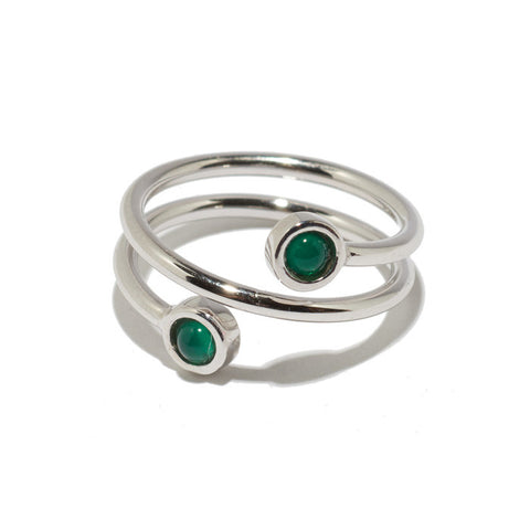 Spiral Ring In Green Onyx