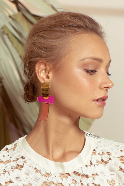 Ernesto Earrings In Magenta