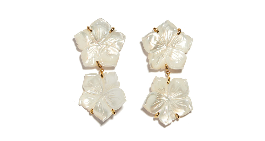 Full view of Paper White Reflection Earrings. Saying 'I do?' Make a statement and sa...