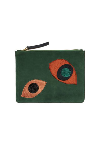 180ee81c777 Lizzie Fortunato Leather Zip Pouch In Abstract Eye