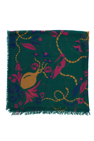 Bird And Vases Scarf In Dark Green