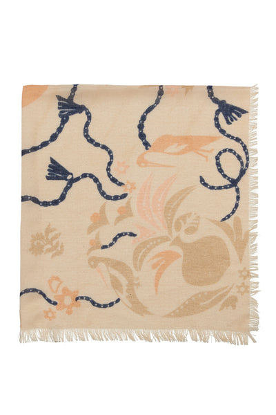 Bird And Vases Scarf In Ivory