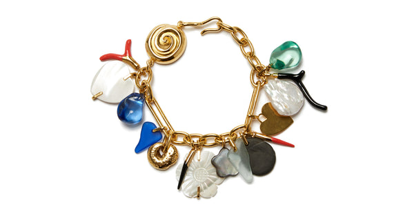 Full view of Treasure Chest Charm Bracelet. This heirloom-worthy chain-link bracelet is a veritable treasure trove of style. Its charms include an eclectic mix of hearts, shaped coral branches, sea glass, flowers, and more.